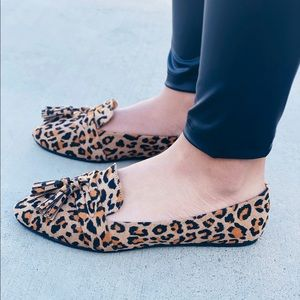 Leopard tassel loafer